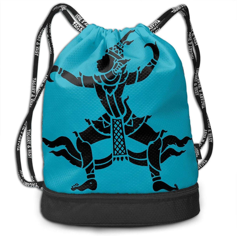 Gugaa Thai Dancer Silhouette Sport Gym Sack Drawstring Bag Outdoor Shopping Satchel Rucksack Drawstring Backpack Daypack