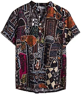 MogogNMen Short-Sleeve African Stand Collar Ethnic Style Summer Casual Shirt