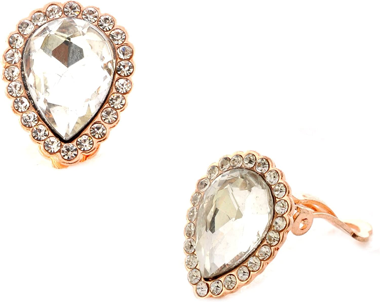 Topwholesalejewel Fashion Jewelry Earrings Rose Gold Plating Oval Shape Clip On Earrings
