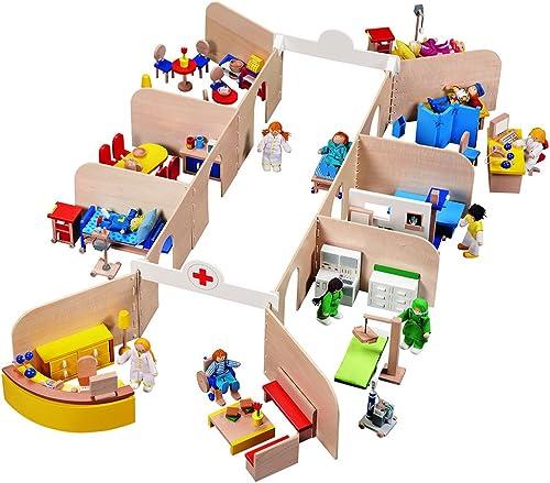 Goki 51779 - Puppenkrankenhaus mit Einrichtung und 11 Biegepuppen