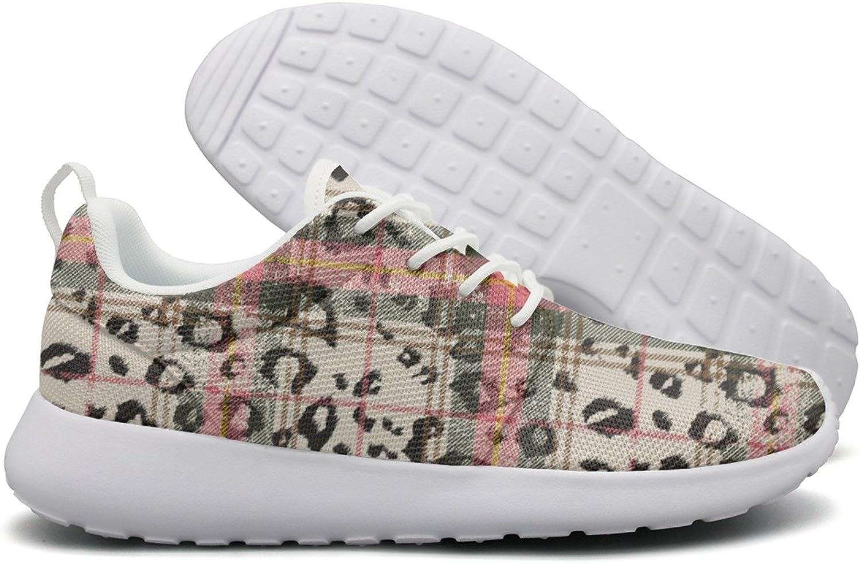 ERSER Scottish Tartan with Snow Leopard Print Spots Power Womens Running shoes