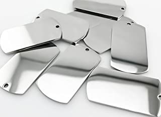 10 Highly Polished Stainless Steel Dog Tag, Blank Pendant (45mm (H) x 24mm (W).)