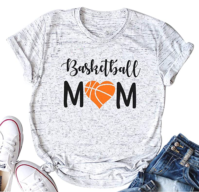 YUYUEYUE Women Basketball Mom Letter Print T Shirt Casual Funny Mom Shirts Short Sleeve Tops Tee