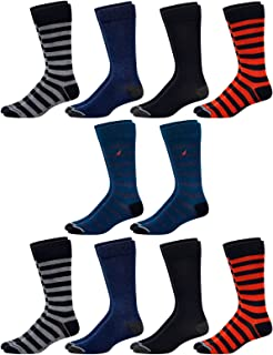 Nautica Mens' Fashion Dress Socks with Moisture Wicking Technology (10 Pack)