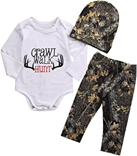 BiggerStore 3Pcs Baby Girls Boys Christmas Outfit Set Long Sleeve Romper+Long Pants with Hat