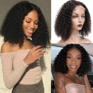 PANEWAY Curly Bob Closure Wig Human Hair Pre plucked Short Curly Wigs 4x4 Lace Front Closure Human Hair Wigs For Black Women Natural Hairline 12 Inch Brazilian Curly Hair Wigs 150% Density