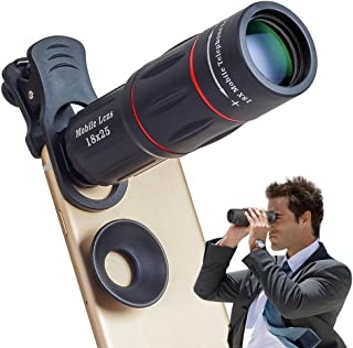 Apexel Phone Camera Lens,18X Optical Camera Mobile Zoom Lens Manual Telescope Lens with Clamp for iPhone X/8 7/6S/6 Plus/5...