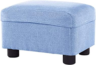 Footstool Washable Cloth Upholstered Foot Stool Ottoman Creative Square Sofa Stool Household Low Stool/Blue/Max.150KG