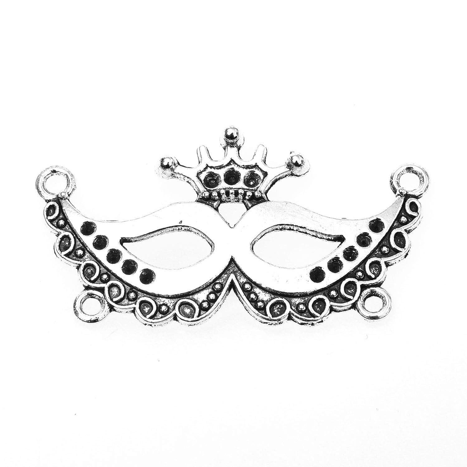 Monrocco 30 pcs Silver Alloy Mask Charms Pendant Party mask Masquerade Mardi gras Zinc Alloy Pendant