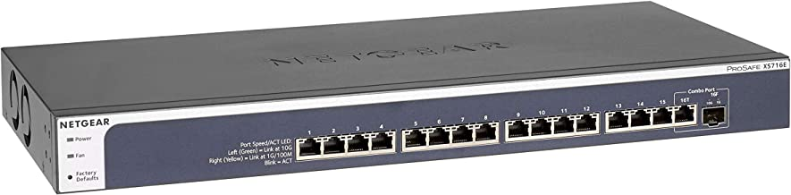 NETGEAR 16-Port 10G Ethernet Smart Managed Plus Switch (XS716E) - with 1 x 10Gigabit SFP+, Desktop/Rackmount, and ProSAFE Limited Lifetime Protection