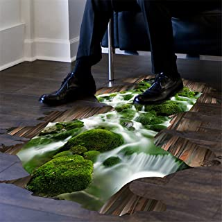 HN 3D Stream Floor Wall Sticker Removable Mural Decals Vinyl Art Living Room Decor