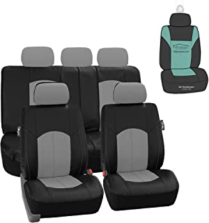 FH Group PU008115 Highest Grade Faux Leather Seat Covers (Gray) Full Set with Gift - Universal Fit