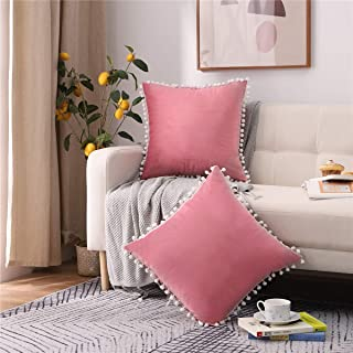 Andreannie Pack of 2 Sot Velvet with White Poms Cozy Solid Decorative Throw Pillow Covers Cushion Case for Sofa Outdoor Li...