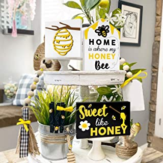 Huray Rayho Honey Bee Tiered Tray Decors, Bumble Bee Shelf Sitter Wood Signs Bundle Black & White Rustic Farmhouse Decorat...