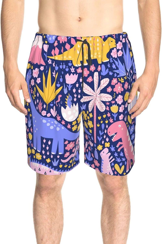 JINJUELS Men's Swim Shorts Cute Cartoon Dinosaurs Beachwear Board Shorts Quick Dry Cool Athletic Swimwear Shorts with Lining
