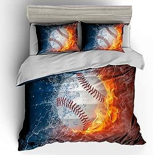 SHOMPE 3D Powerful Cool Baseball Bedding Set,Kids 3 Piece Duvet Cover Set with Pillow Shams for Teens Boys Girls,NO Comforter,Twin Size