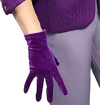DooWay Women Purple Velvet Short Gloves 8-inch Wrist Length Stretchy Women Party Costume Finger Gloves
