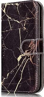 Galaxy J3 Emerge /J3 Luna Pro /J3 Mission/J3 Eclipse/Sol 2/J3 Prime Wallet Case,Voanice PU Leather with Card Slots Holder&Kickstand Flip Folio Protective Cover for Samsung J3 2017&Stylus-Black Marble