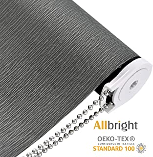 ALLBRIGHT Striped Jacquard Thermal Insulated 100% Blackout Window Roller Shades UV Protection Roller Blinds (47 x 72 inches, Slate Grey)