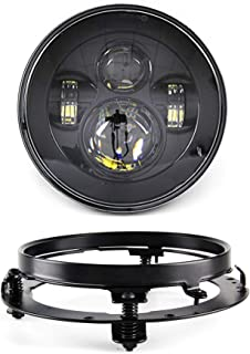 SKUNTUGUANG 7 Inch LED Headlight With Mounting Bracket Ring for Harley Davison Road King, Road Glide, Street Glide and Electra Glide Motorcycle Headlamp(black)