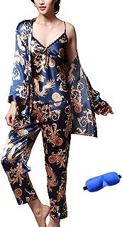 Women/Men Pajama Sets 3pcs Silk Sleepwear Sets Cami Nightwear PJS Set with Matching Eye Mask Gift