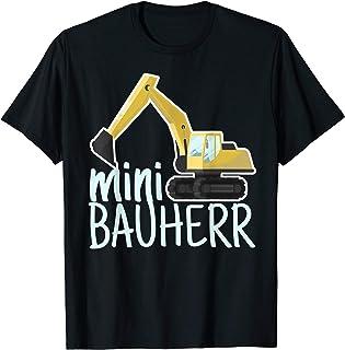 Hausbau & Richtfest Outfit Mini Bauherr mit Bagger I Lustiges Kinder Baustellen T-Shirt