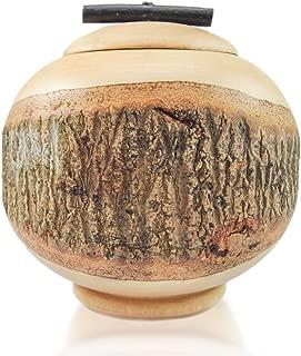 roro Live Edge Handcarved Wood Cookie Jar with Lid