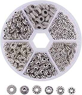 PandaHall Elite - 300 Pcs 6 Styles Perles Intercalaires Perles Espacees Perles d'Espacement en Alliage de Style Tibétain A...