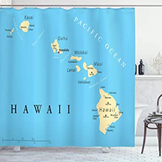 Ambesonne Hawaiian Decorations Collection, Map of Hawaii Islands with Capital Honolulu Borders Important Cities and Volcanoes, Polyester Fabric Bathroom Shower Curtain, 75 Inches Long, Blue