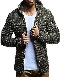Men's Casual Knit Stripe Outwear Blouse Autumn Winter Thin Shwearshirt Boys Hoodes Zipper Jacket Coat