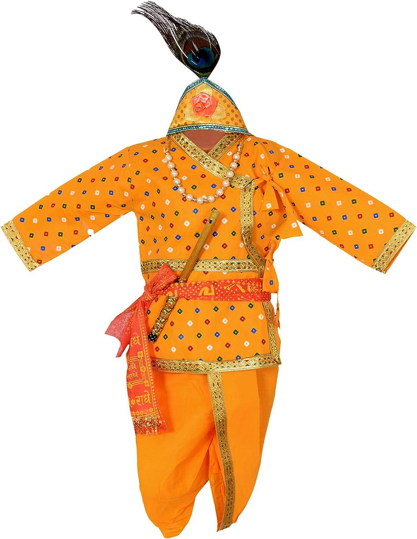 AHHAAAA Cotton Bandhani Print Krishna Dress Kurta with Dhoti Pant for Boys