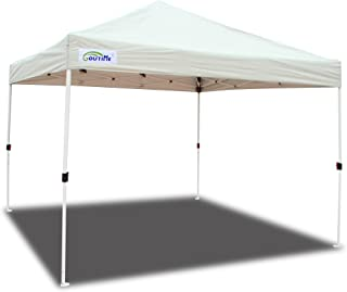 Goutime Instant 10X10 Feet Pop Up Canopy Tent, Medium-Duty Outdoor Canopy Tent for Parties, Include Wheeled Bag, 4 Stakes and Ropes, White