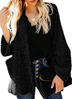 AlvaQ Women Casual Long Sleeve Open Front Knit Cardigan Sweater Coat with Pockets