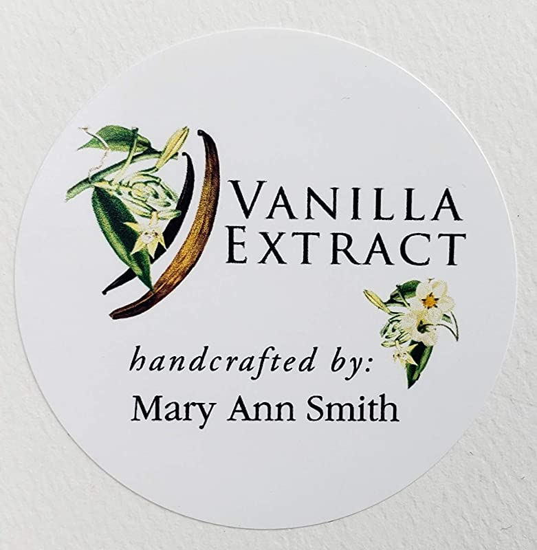 PERSONALIZED Vanilla Extract Labels Botanical 2 Round Circles 12 Or 18 PER PKG 12