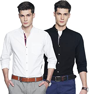 OJASS Men's Solid Casual White, Black Shirt (Pack of 2)