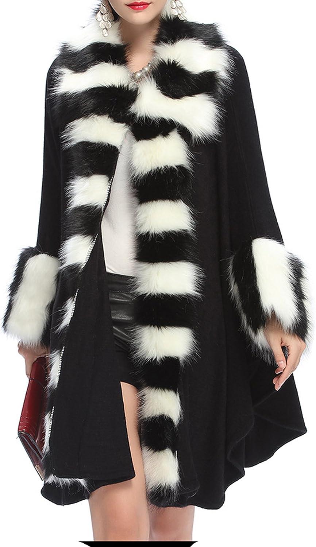 Women's Faux Fur Poncho Cape Wrap Coat Warm Luxurious Shawl