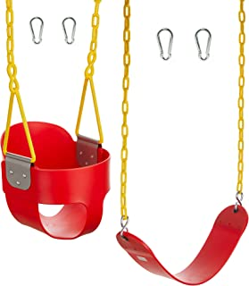Squirrel Products Combo - High Back Full Bucket Swing (Triangle and Chain Dip) and Heavy-Duty Swing Seat with Carabiners- Red