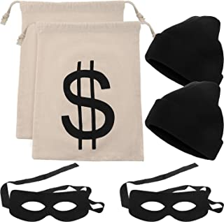 6 Pieces Robber Costume Set Include Canvas Dollar Sign Money Bags Bandit Eye Mask Knit Beanie Cap for Halloween Cosplay Burglar Theme Party
