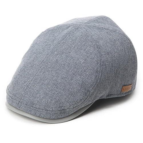 28a7a6dfce308 Siggi Mens Flat Duckbill Hat Newsboy Driving Cap 57-60CM Elastic Size 5  Colors