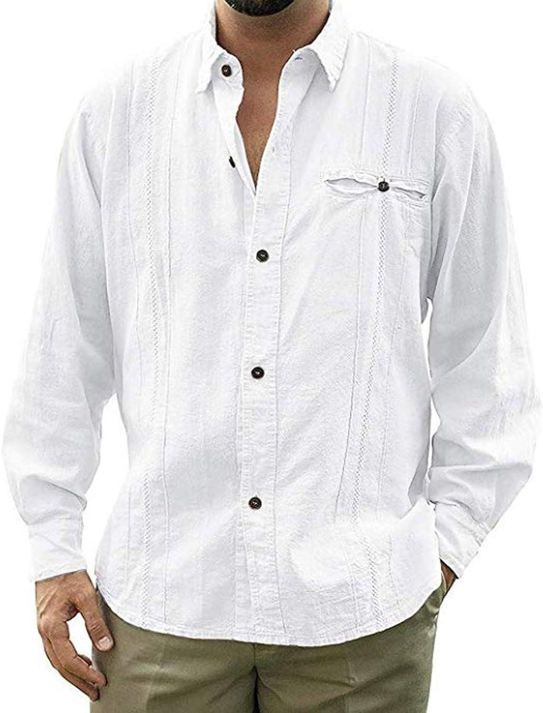 Mens Linen Button Down Shirts Long Sleeve Turn Down Collar Summer Beach Shirts Regular Fit Tops