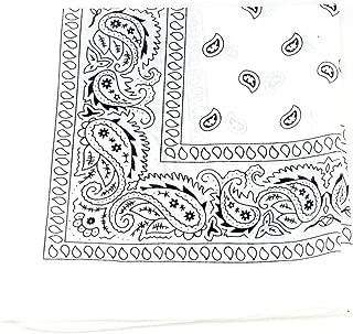 Unisex Double Sided Print Paisley Cotton Bandana Head Wrap Scarf, White