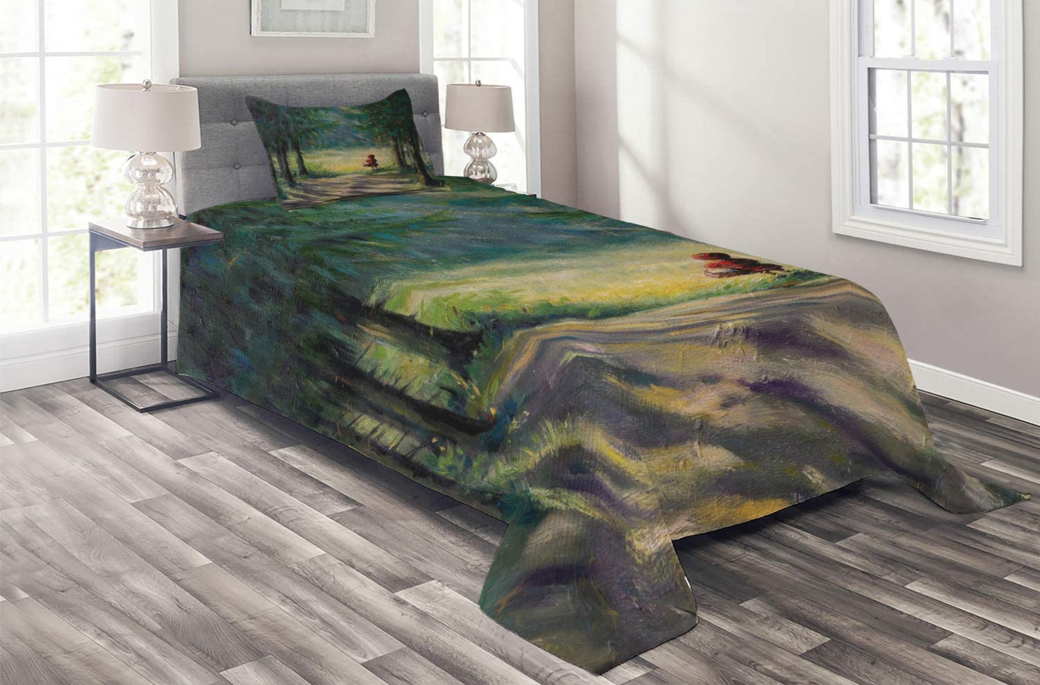 Ambesonne Fantasy Coverlet Max 81% Bombing new work OFF Watercolor Traditional Story Illustr