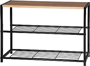 WOLTU SR0051 Étagère à Chaussures Meuble de Rangement 2 Niveaux pour Environ 6 Paires de Chaussures, Etagère de Rangement pour Salle de Bain en MDF et métal