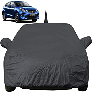 Autofact Car Body Cover for Maruti Baleno (2015 to 2019) with Mirror and Antenna Pocket (Light Weight, Triple Stitched, Heavy Buckle, Bottom Fully Elastic, Grey)