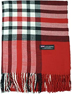 RED Wholesale Lot Womens 100% Cashmere Large Blanket Scarf Tartan Stripe Scotland 1 pcs #CPAS
