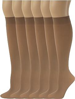 b3804540f0890 Sumona 6 Pairs Women Opaque Stretchy Spandex Knee High Trouser Socks