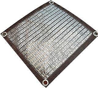 グロメット付きシェードネット75%日焼け止めシェードクロスネット - 植物カバー、温室納屋、パティオ芝生用アルミ箔防水シート(サイズ:1m× 1m)