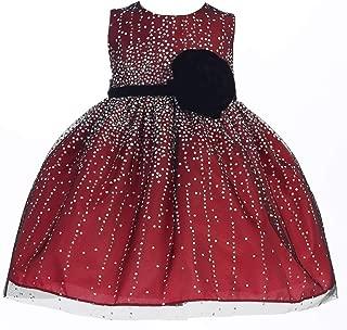 Crayon 女童红色天鹅绒花饰腰带亮片圣诞连衣裙 6-24M