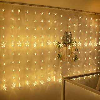 TOFU 80 Stars 144 LED Curtain String Lights, Window Curtain Lights with 8 Flashing Modes & Remote Control, Decoration for Christmas, Wedding, Party, Home, Bedroom, Patio Lawn, Warm White