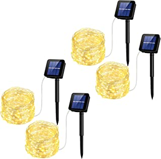 Mpow Solar String Lights, 33ft 100LED Outdoor String Lights, Waterproof Decorative String Lights for Patio, Garden, Gate, Yard, Party, Wedding, Christmas (Warm White) 4 Pack